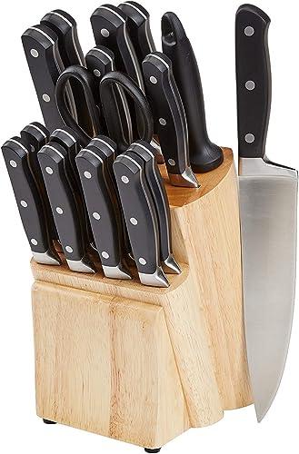 Amazon Basics Bloc de couteaux 18 pièces haut de gamme