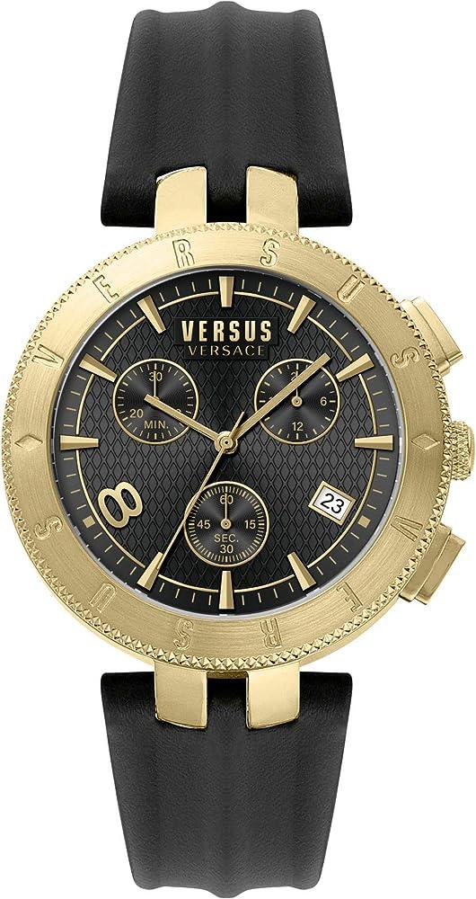 Versus by versace orologio da uomo con cronografo  cassa in acciaio e cinturino in pelle VSP762918