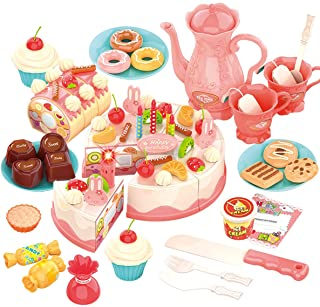 REMOKING Pretend Play Food for Kids,DIY 82PCS Decorating and Cutting Birthday Party Cake, Tea Set,Candle,Fruits,Biscuits,D...