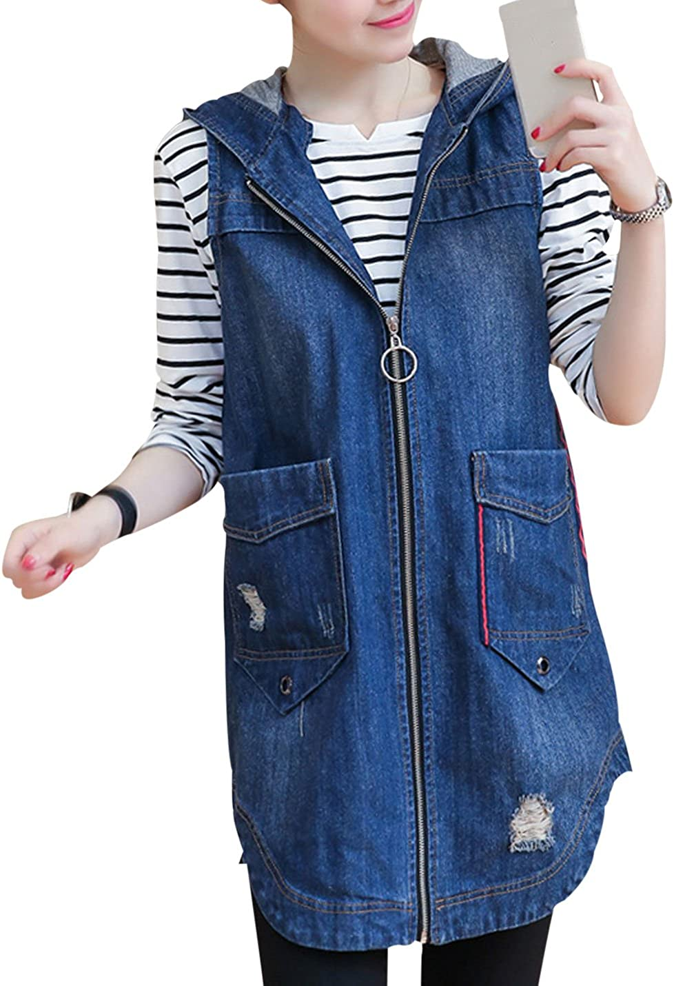 Yeokou Women's Casual Hood Sleeveless Zip Slim Mid-Long Cotton Denim Vest Jacket