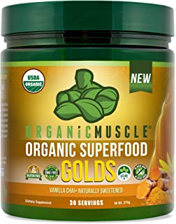 Certified Organic Superfood Golds Powder   Turmeric Golden Milk Blend of 12 Superfoods for Detox, Deeper Sleep, Relaxation & Recovery   Vegan, Keto, Non-GMO   Vanilla Chai   30 Serv   ORGANIC MUSCLE