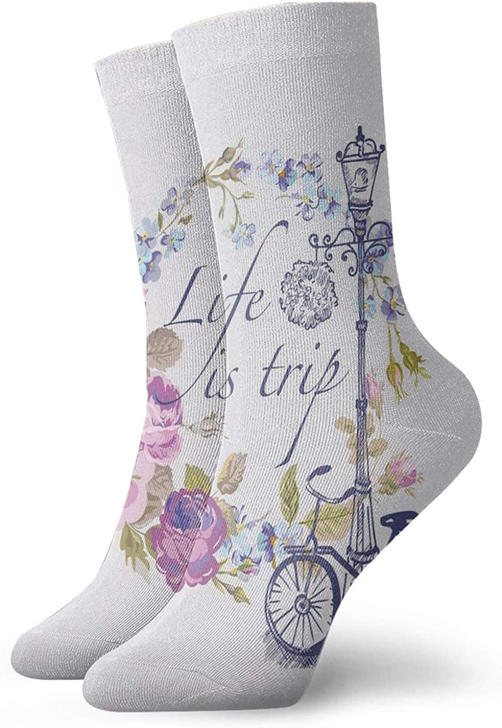 Compression High Socks-Life Is A Trip Inspirational Quote Romantic Floral Wreath And Retro Bicycle Best for Running,Athletic,Hiking,Travel,Flight
