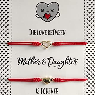 Mother and Daughter Matching Heart Bracelets - Set of 2 Red String