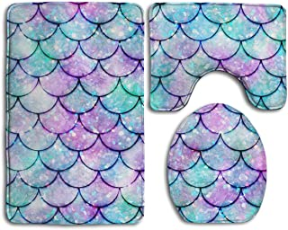 TERPASTRY Bathroom Accessories Beautiful Sparkling Mermaid Scales Non-Slip Bath Mat Set 3 Piece Includes 19.7X15.7 Inch Contour Rug 13.8X17.7 Inch Lid Toilet Cover 31.5X19.7 Inch Bath Rug