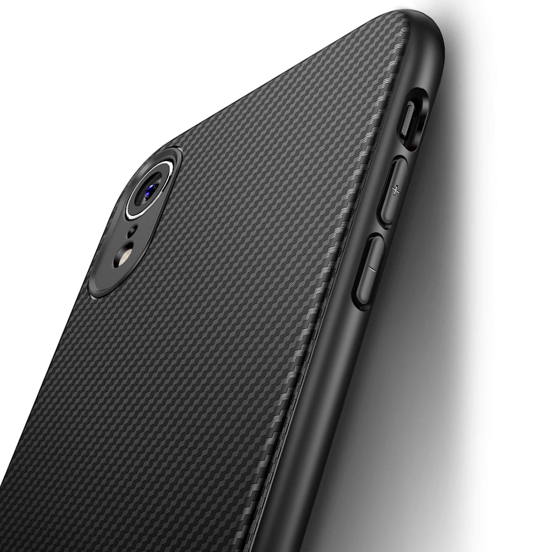 J Jecent Funda iPhone XR [Textura Fibra de Carbono] Carcasa Ligera Silicona Suave TPU Gel Bumper Case Cover de Protección Antideslizante [Anti-Rasguño] [Anti-Golpes] Caso para iPhone XR: Amazon.es: Electrónica