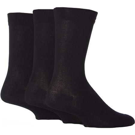 Mens 3 Pair SockShop Comfort Cuff Striped and Plain Bamboo Socks