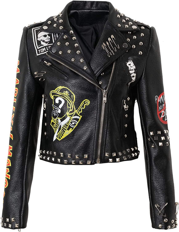 YHNY Women's Faux Leather Jacket Zipper Slim Short Coat Print Graffiti Long-Sleeved Casual Motorcycle Clothing Black-M