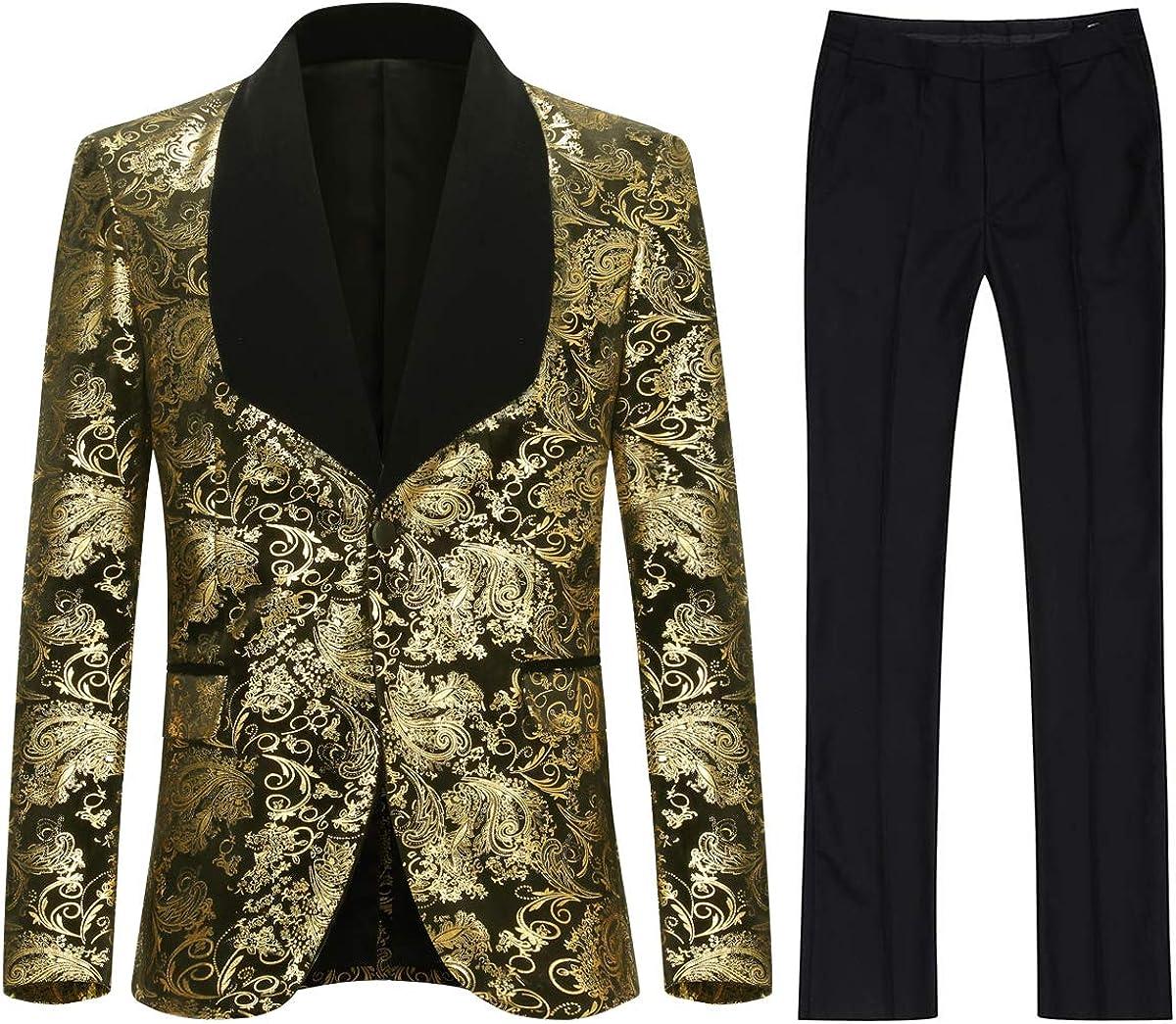 Mens Dress Suit 2 Piece 1 Button Gold Printed Wedding Prom Party Blazer Pants Set