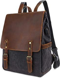 Neuleben Canvas Leder Rucksack mit USB Ladeport 15.6 Zoll Laptop Daypack Damen Herren für Outdoor Schule Wandern Groß Schwarz