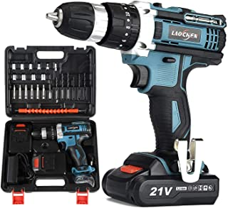 SP-Cow 21V Cordless Drill Driver with Kitbox, Electric Drill Set with powerful 2x1.5Ah Lithium Battery,32Nm Torque, 2-Spee...