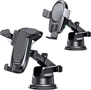 VANMASS Universal Car Phone Mount 【Upgraded Auto Clamp】 Bundle with VANMASS 15W Wireless Car Charger Mount 【Built-in Battery】 Dashboard Air Vent Windshield Phone Holder Compatible with Most Phones
