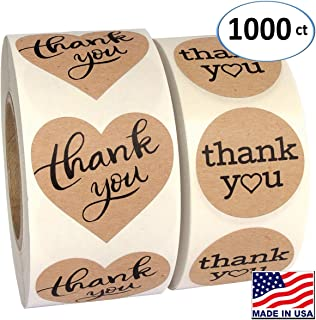 """1000 Pack, Heart Love Shape Kraft Paper Thank You Adhesive Label, Complete Bundle, 1.5"""" Heart Shaped Stickers & 1.25"""