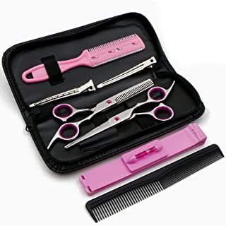 """Family Hair Cutting Scissors 6.5"""" Stainless Steel Hair Scissors - Barber Thinning/Texturizing Scissors Set with Fine Adjustment Screw(Pink)"""