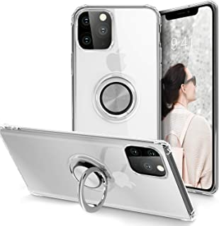 iPhone 11 Pro Max Case 6.5 inch 2019, Clear Body Soft TPU Shockproof Case with 360 Degree Rotation Button Bounce Ring Kickstand(Work with Magnetic Car Mount) for iPhone 11 Pro Max, Clear