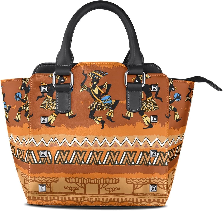 My Little Nest Women's Top Handle Satchel Handbag Happy Dancing African People Ladies PU Leather Shoulder Bag Crossbody Bag