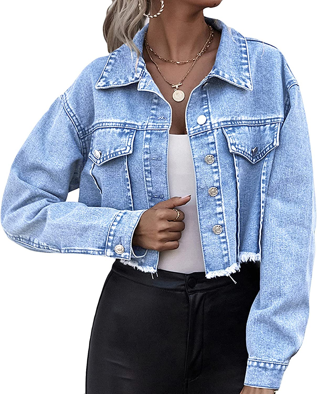 Super sale period limited Fashion Fashion Jean Jacket Women Tight Pocket Solid Ol Button Imitation