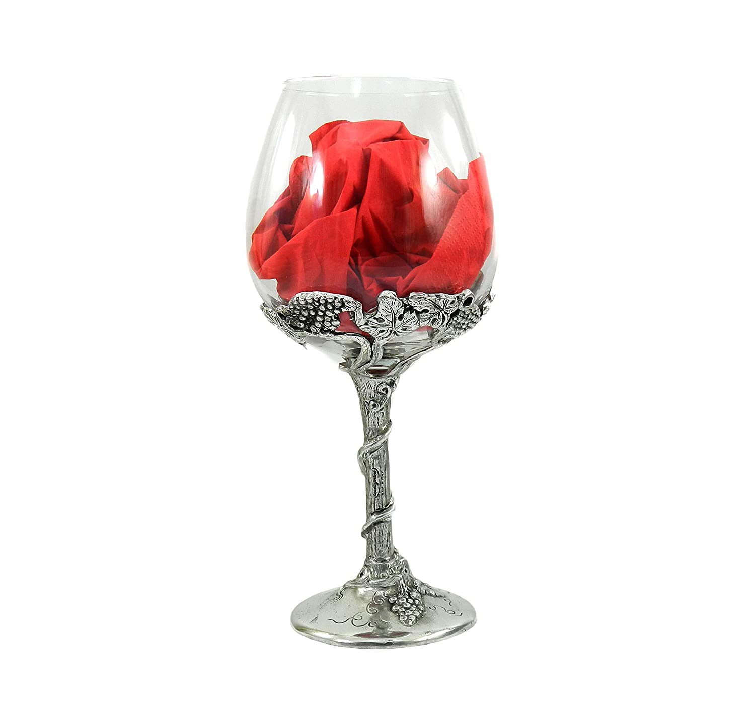Glass Goblet refined in metal List price and w red glass design Store white
