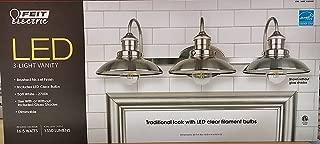Feit Electric LED 3-Light Vanity, 1350 Lumens, Soft White - 2700K, Dimmable, Brushed Nickel Finish