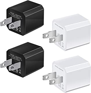 USB Wall Charger, 4-Pack Universal 5V/1A Mini Portable Travel Adapter High Speed Cube 1.0A Output Compatible for iPhone iPod Samsung HTC LG iPad Nokia (2 Pack White + 2 Pack Black)