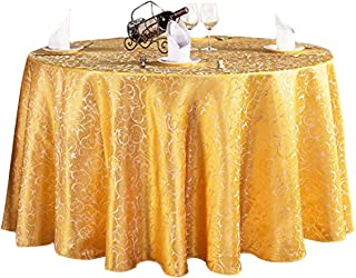 Ufatansy Uforme Elegant Round Tablecloth Leaves Pattern Durable Woven Fabric Fade Resistant Large Round Table Cover with S...