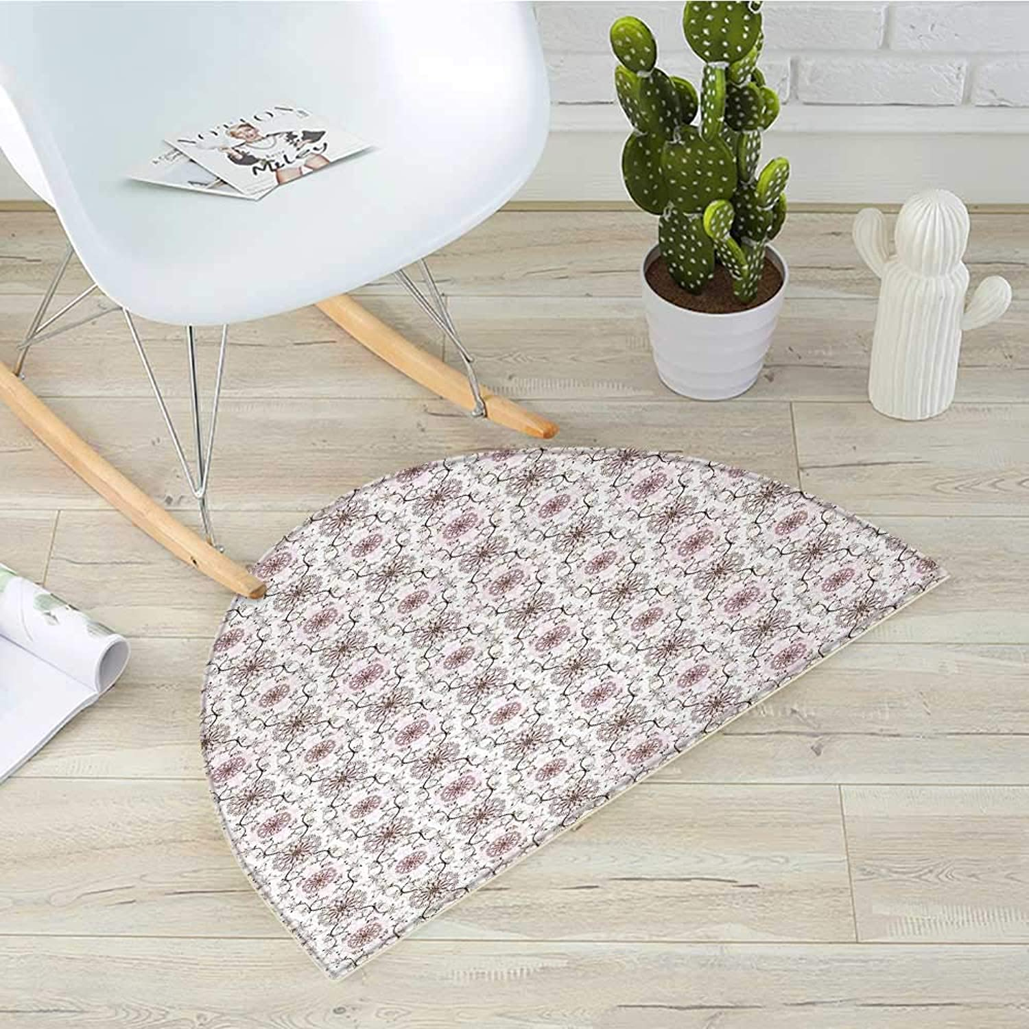 Romantic Semicircle Doormat Pastel colord Floral Composition with Flourishing Tree Branches Heart Shapes Halfmoon doormats H 19.7  xD 31.5  Brown Pale Pink