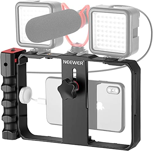 Neewer Plastic U Rig Smartphone Video Rig, Filmmaking Cage, Phone Video Stabilizer Grip Tripod Mount for Videomaker F...
