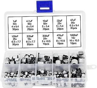 OCR 180pcs SMD Aluminum Electrolytic Capacitor Assortment Kits,1uF-1000uF Range,16~50V, 10 Values
