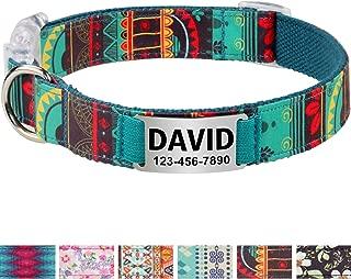 Collar de perro Personalizado,Placa de acero inoxidable,Grabado con nombre y número de teléfono,Cyan Mayan Grande