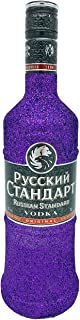 Glitzer Russian Standard Vodka 0,7l 40% Vol - Bling Glitzerflasche Hologramm Lila