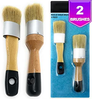 Pixiss Chalk, Milk Paint and Wax Brushes for Stencil Brushes, Home Furniture Paint - 2 Piece Paint Brush Set
