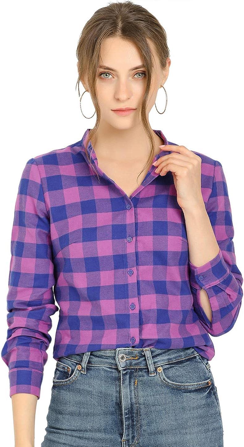 Allegra K Women's Plaid Stand Collare Color Block Cotton Blouse Button Down Shirt