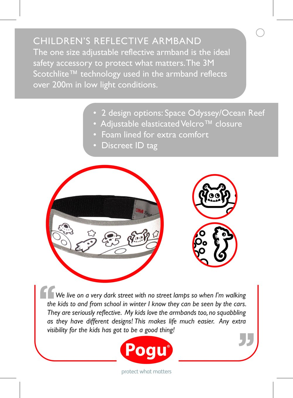 Pogu Children's Reflective Armband, Ocean Reef