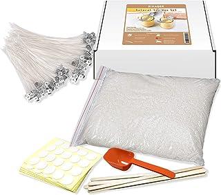 Kit de Fabrication pour Bougie, 200pcs Mèches de Bougie 4cm 15cm et 22 cm, 1kg Cire de Soja, 100xSticker Mèches de Bougie,...