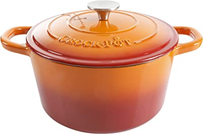 Crock Pot Artisan Round Enameled Cast Iron Dutch Oven, 5-Quart, Sunset Orange
