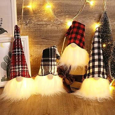 S-DEAL Luces navideñas con figura afelpada de gnomo escandinavo Decoraciones navideñas Adornos para mesa de invierno 9 pulgadas de altura Juego de 4