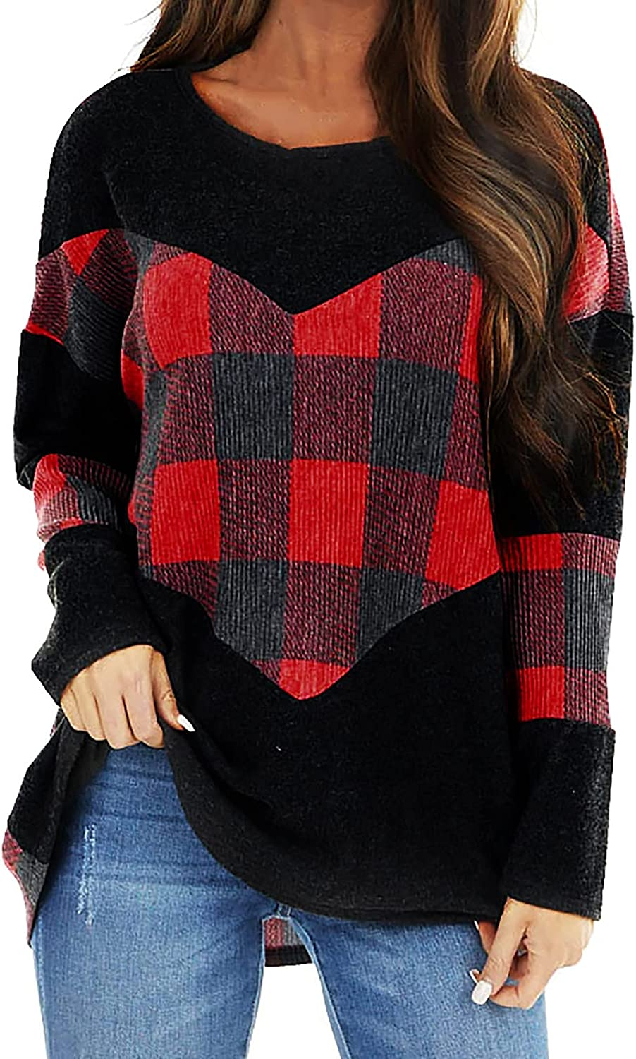 Women's Long Sleeve Blouses Print Round Neck Casual Loose Tops Fashion New Comfy Pullover Tunic Top