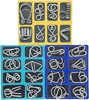 Set of 24 Metal Puzzles Brain Teasers for Adults Kids Bent Nail Puzzle Chinese Brain Toys for Dementia Patients by Kvvdi