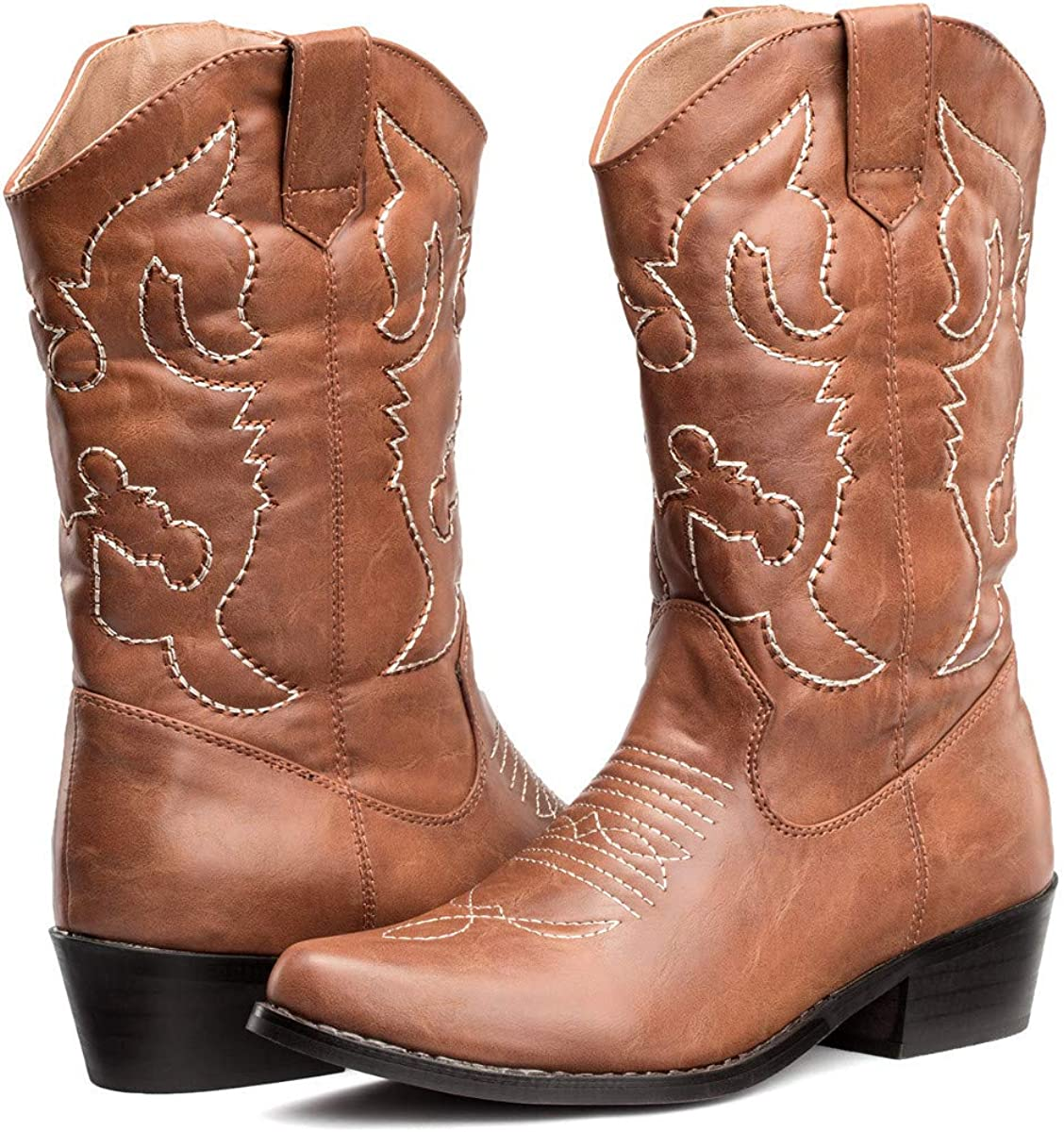 Womens Pointed Toe Embroidered Mid Calf Western Cowboy Boots for Country Wedding