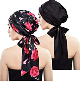 2 Pieces Soft Satin Head Scarf Sleeping Cap Bonnet Headwear Head Cover Turbans for Women (Set 1)