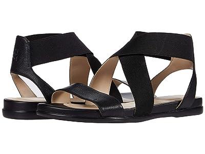 Cole Haan Grand Ambition Elastic Sandal (Black Leather/Tonal Elastic/CH Gunmetal Logo Tab) Women