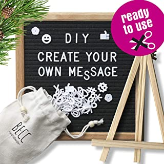 BECC Felt Letter Board 10 x 10 Inch Changeable Message Board with 510 Precut Letters, Emojis, Icons and Symbols Quality Oak Frame, Wall Mount, Canvas Bag, Tripod Stand, No Scissors Needed