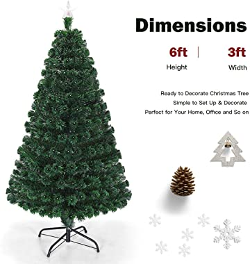 Goplus 6FT Pre-Lit Christmas Tree, Fiber Optical Tree 8 Flash Modes with Multicolored LED Lights and Metal Stand, Artificial