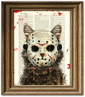 Cat Killer Blood-Splattered Slasher of Camp Kitty Lake Cat In Hockey Mask Illustration Dictionary Page Book Art Print