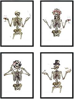 Nacnic Ensemble de 4 feuilles « Quatre squelettes costumés. » Les affiches avec des images de crânes. A4 unframed