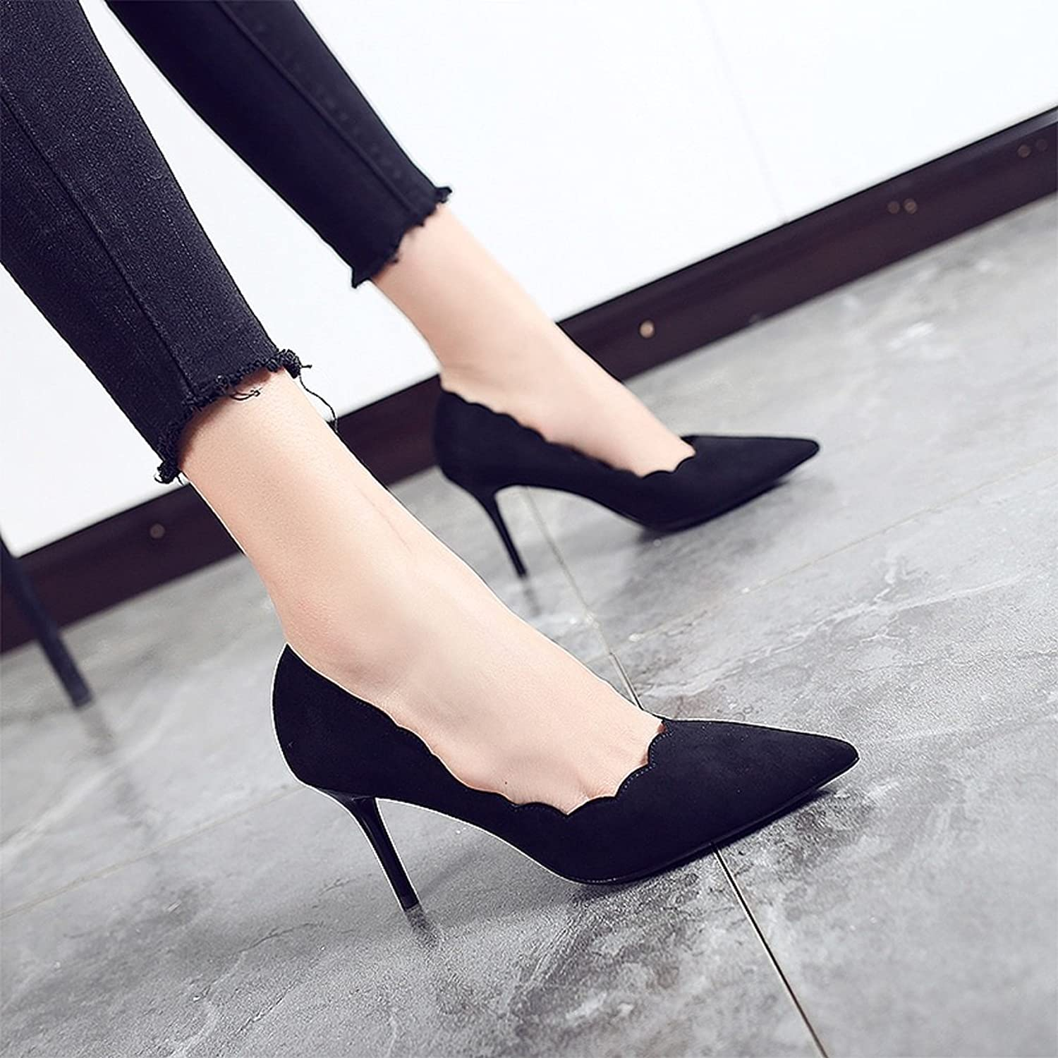 Women's high heels fall summer sexy black professional thin section shoes