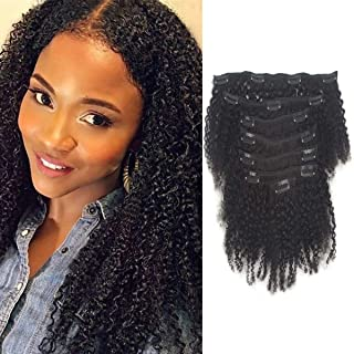 Curly Clip in Hair Extensions Real Natural Hair Afro Kinky Clip Brazilian Curly Clips Hair Extensions Clip on Hair Weft for African American Black Women Black 7 Pieces 120g with 16 Clips 8 Inch