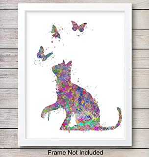Butterfly Cat Wall Art Print - Colorful Watercolor Home Decor Perfect for Bedroom, Bathroom, Childrens, Girls, Baby Kids Room or Nursery - Great Gift for Kitty Lovers - 8x10 Photo - Unframed