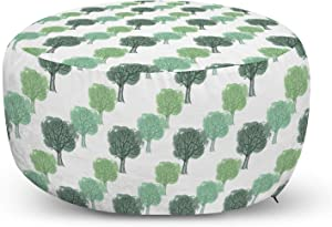 Lunarable Botanical Garden Ottoman Pouf, Sketch of Leafy Trees in Green Tones Repetitive Pattern Art Print, Decorative Soft Foot Rest with Removable Cover Living Room and Bedroom, White and Seafoam
