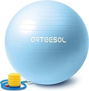 Exercise Ball Arteesol Yoga Ball with Quick Pump Anti-Burst Fitness Balance Swiss Gym Ball 45cm / 55cm / 65cm / 75cm / 85cm Anti-Slip Heavy Duty Yoga Pilates Core Training Physical Therapy