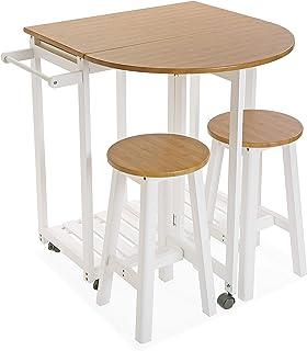 Versa 21810006 Set de Mesa y Dos sillas para Cocina o Comedor en Madera en Color Blanco y Marrón, 84 x 39,5 x 86 cm
